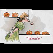 Vintage Halloween Postcard By H.B. Griggs - Apples On Strings - 1908