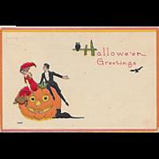 Vintage Halloween Postcard - Fancy Dressed Couple on JOL By Bergman 1912