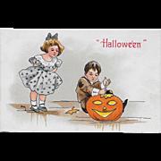 Vintage Halloween Postcard - Boy Carving Pumpkin JOL By H.B. Griggs