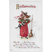 Vintage Halloween Postcard Little Witch With Black Cat By E. Nash
