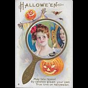 Vintage Halloween Postcard Woman In Mirror JOL Bats By Stetcher