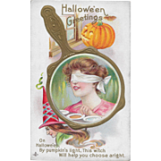 Vintage Halloween Postcard Blindfolded Woman's Reflection In Mirror By Stetcher