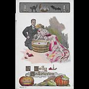 Vintage Halloween Postcard - A Jolly Hallowe'en By Fred Lounsbury 1907 Cats Bats JOL