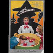 Vintage Halloween Postcard - Ducking For Apples