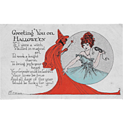 Vintage Halloween Postcard Lady In Witch's Crystal Ball By E. Weaver