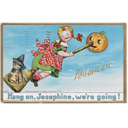 Vintage Halloween Postcard - Hang On Josephine - by C.B.T.