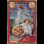 Vintage Halloween Postcard - Child, Witch, JOL - Halloween Series No 5 - 1910