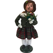 Christmas - Byers Choice The Carolers Figurine Girl Holding Candle Wreath