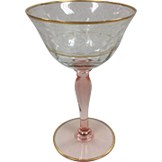 Depression Glass Clear & Pink Goblet with Gold Trim and Lotus Etch