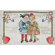 SOLD Vintage Valentine's Day Postcard Hearts Cupids and Children Ethel H. DeWees