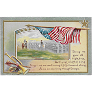 Vintage Patriotic Postcard American Flag, Soldiers, Horses and Bugle
