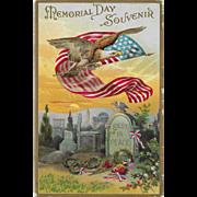 Vintage Patriotic Postcard Memorial Day Souvenir Eagle, US Flag & Tombstone
