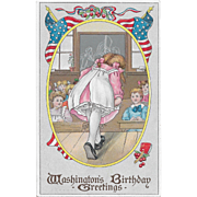 Vintage Patriotic Postcard Washington's Birthday Greetings Girl In School