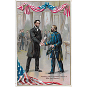 Vintage Tuck's Patriotic Political Postcard The Meeting Of President Lincoln & General Grant