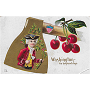 Vintage Patriotic Postcard George Washington - His Boyhood Days