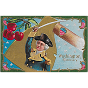 Vintage Patriotic Political President Postcard George Washington His Bravery