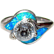 Vintage Sterling Silver Fire Opal Crystal Solitaire Cocktail Ring Size 6