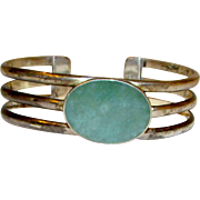 Vintage Sterling Silver 925 Green Amazonite Cuff Bracelet