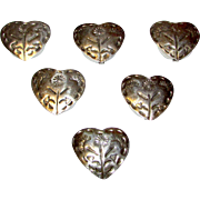 Vintage Native American Southwestern Sterling Silver Heart Shaped Button Covers, Set of 5