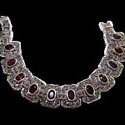 Art Deco Vintage Sterling Silver Marcasites Garnet Estate Fine Jewelry Statement Bracelet