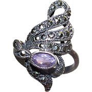 Art Nouveau Sterling Silver Amethyst Marcasites Filigree Statement Cocktail Ring Size 7