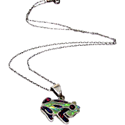 Vintage Sterling Silver Fire Opal Inlay Frog Pendant Necklace