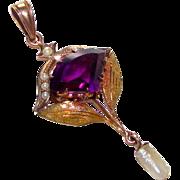 Antique 10K Gold Amethyst Pearls Lavalier Pendant Victorian Edwardian 1900s  Art Nouveau Fine
