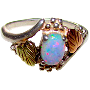 Sterling Silver 12K  Yellow and Rose Gold Fire Opal Ring Size 8