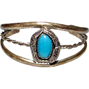 Native American Navajo Sterling Silver Turquoise Cuff Bracelet Squash Blossom Design