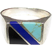 Sterling Silver 925 Turquoise Lapis Onyx Inlay Taxco Mexican Sterling Gentleman's Ring Size 14