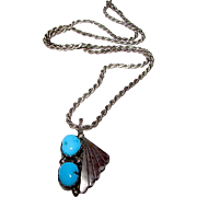 Vintage Old Pawn Native American Navajo Sterling Silver Turquoise Necklace Squash Blossom ...