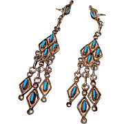 Vintage ZUNI Native American Sterling Silver Sleeping Beauty Mine Turquoise Dangle Statement .