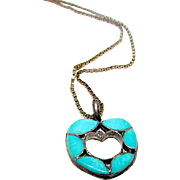Old Pawn Native American Zuni Sterling Silver Turquoise Mosaic Inlay Heart Pendant Necklace