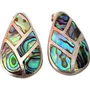 Sterling Silver 925 Mexico Taxco Pierced Earrings with Abalone Shell Inlay Design