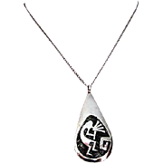 Vintage HOPI Native American Sterling Silver Kokopelli Pendant Necklace by the Collectible Hop