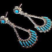 Native American Zuni Sterling Silver Turquoise Petit Point Pierced Dangle Earrings