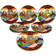 Japanese Satsuma Moriage Dragon Wear Kannon Goddess and Immortals Dessert Plates Set of 6
