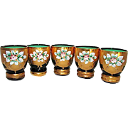 Bohemian Emerald Green Glass Shot Glasses with Hand Crafted Applique Flowers Design 24k Gold .