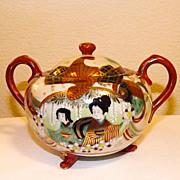 SALE Exquisite unique Japanese KUTANI GEISHA  sugar bowl