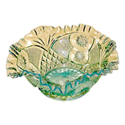 Northwood Opalescent Blue Ruffle Top Bowl
