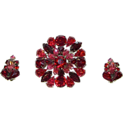 Vintage Ruby Red and Pink Art Glass and Rhinestones Brooch and Earrings Demi Parure Set
