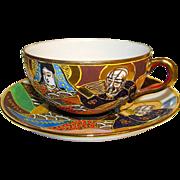 Vintage Satsuma Dragon Wear Moriage Kannon Goddess and  Immortals  Tea Cup and Saucer