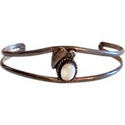 SALE Native American Navajo Sterling Silver Old Pawn Mother of Pearl Cuff Bracelet