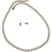 SALE Cultured Pearl 10K Gold Filigree Clasp Necklace and Pierced Earrings Set