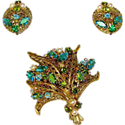 West Germany Topaz Blue and Peridot Green Art Glass and Rhinestones Brooch and Earrings Set