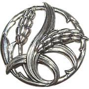 Danecraft Sterling Silver Wheat Design Brooch. Rare