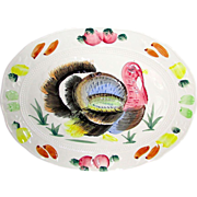 SALE Vintage Turkey Platter with Hand Painted Embossed Design