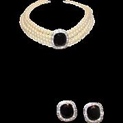 KJL Kenneth J Lane Faux Black Sapphire Rhinestones Earrings and Necklace Set