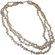 Cultured Pearl 14K Filigree Clasp Triple Strand Victorian Style Necklace