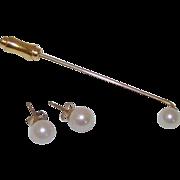 Cultured 6-7mm Akoya Pearl 14K Gold  Post Earrings and Lapel Pin Set